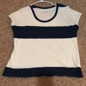 Old Navy Short Sleeve Navy Blue/White Striped Tee
